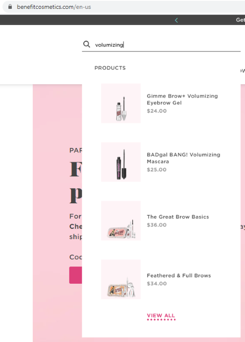 Benefit Cosmetics typeahead search example