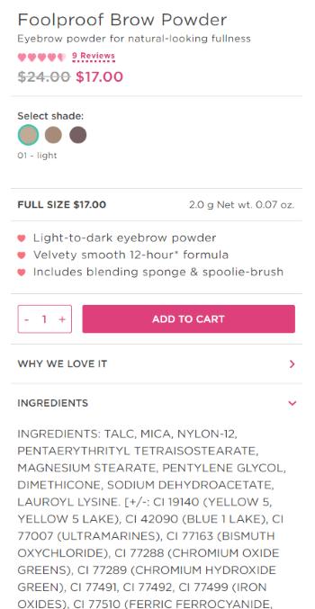Benefit Cosmetics ingredients description