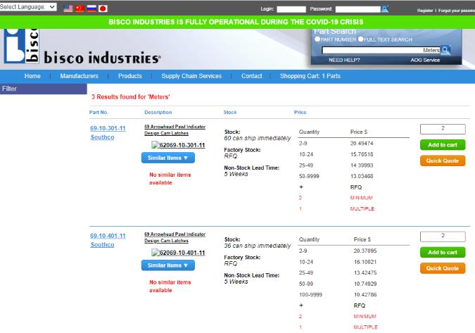 bisco industries website screenshot