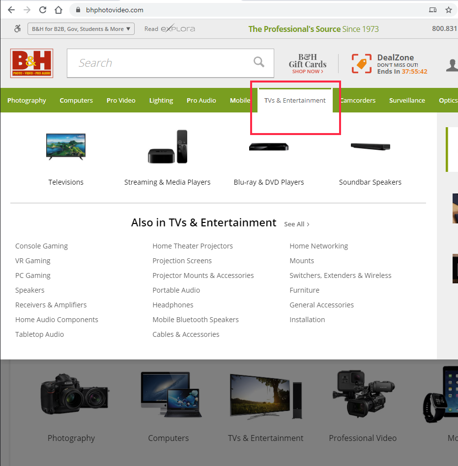 B&H Photo Video website showing super menu when hovering on TV category in the top navigation bar