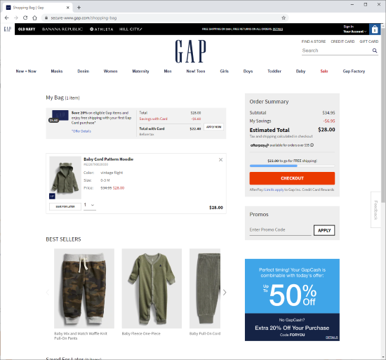 Screenshot of cart page in first step of checkout at Gap.com