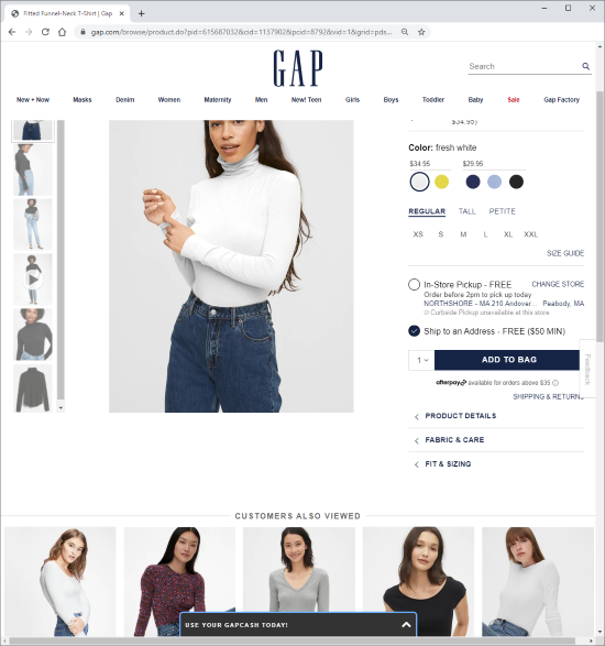 Screenshot of Gap Product Details Page