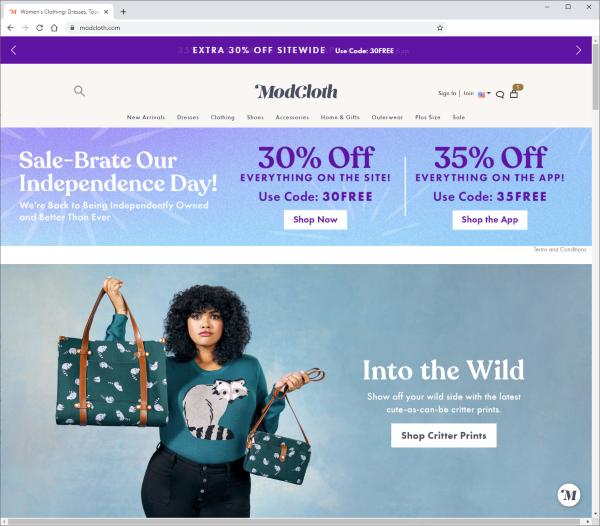 ModCloth website