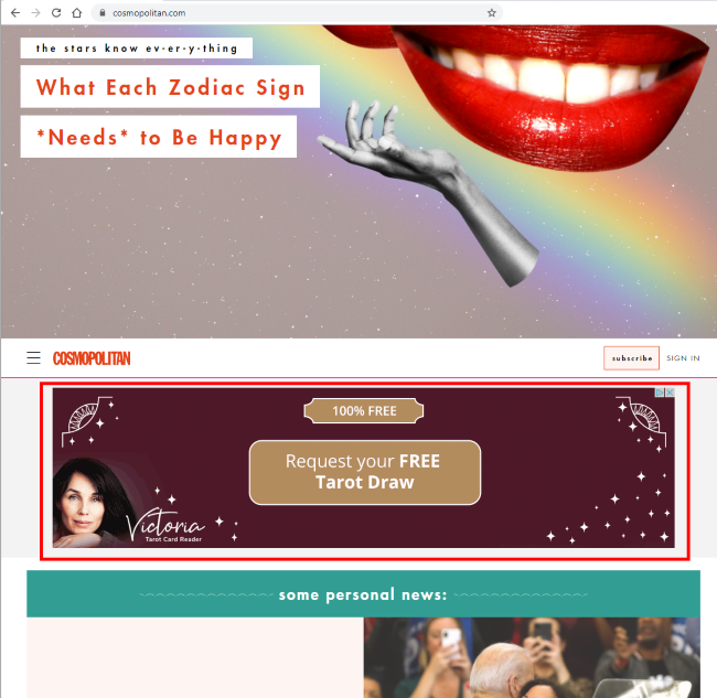 Example of a banner advertisement (highlighted in red) on Cosmopolitan website  (Source: Cosmopolitan)