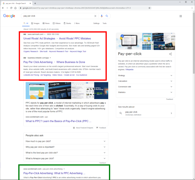 Screenshot of search engine results page showing PPC and organic results (Source: Google)