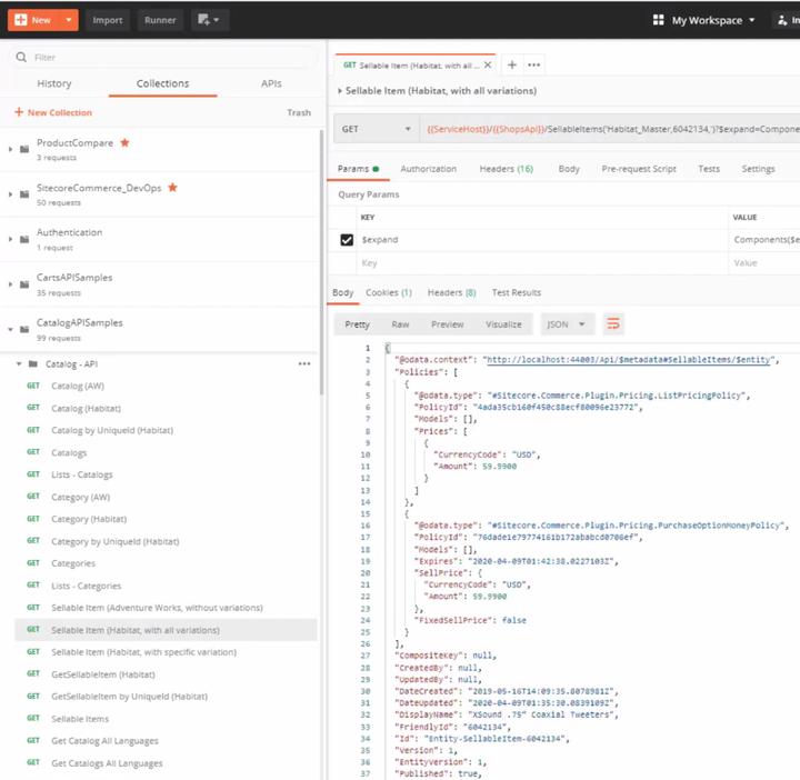 Example API output