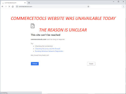 Screenshot of browser unable to connect to the Commercetools website