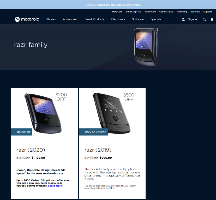 Motorola website screenshot