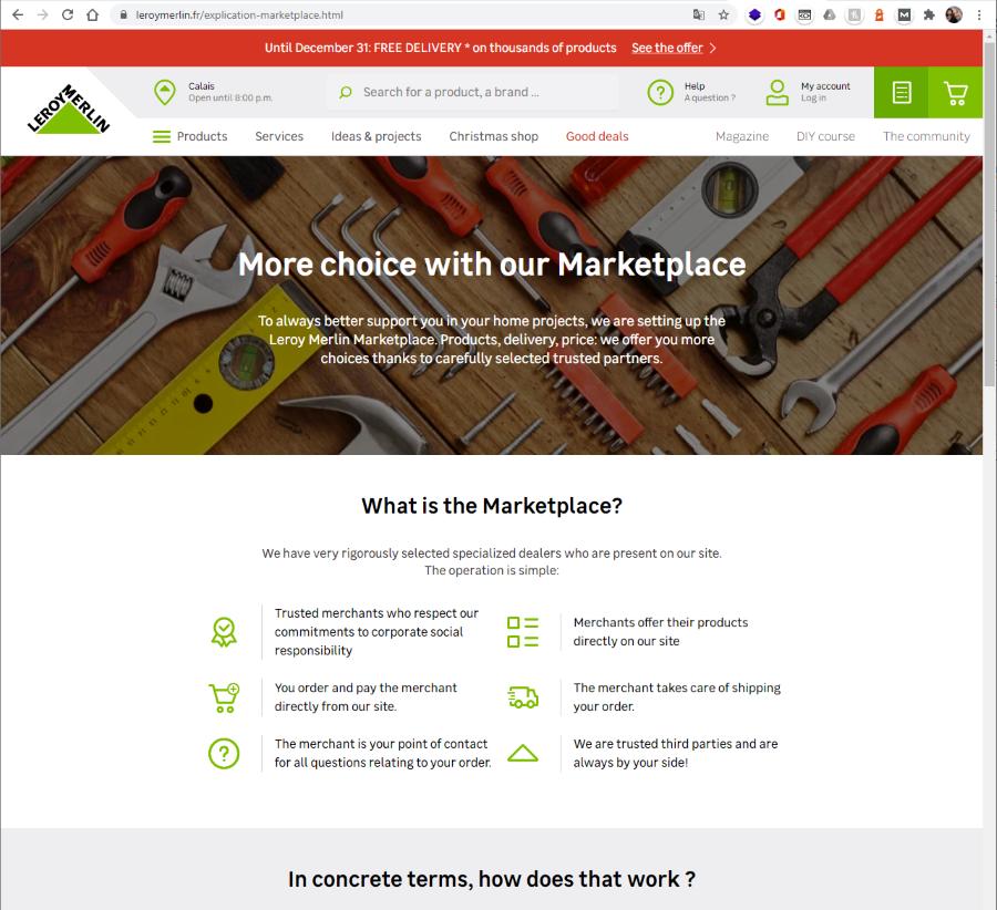 Screenshot of Leroy Merlin marketplace FAQ