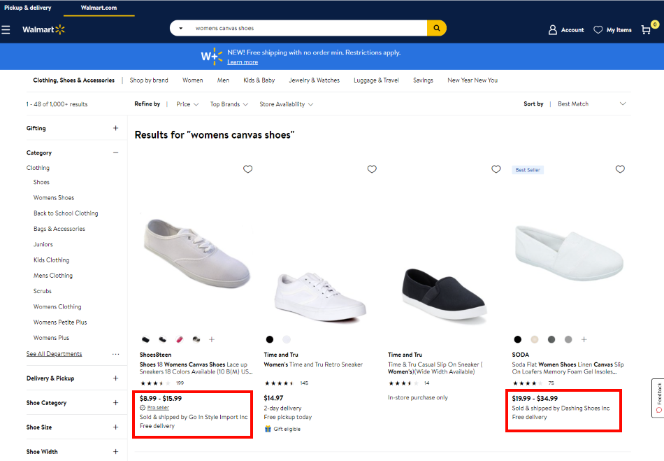 Walmart.com showing highlighting marketplace products